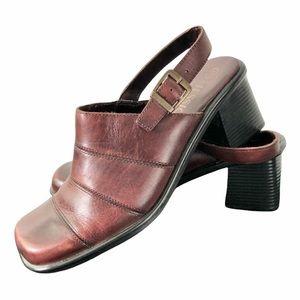 Leather platform sling back square toe clogs mules